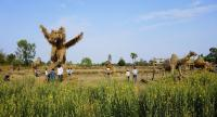 A rice paddy becomes an outdoor gallery for an eyecatching display of huge straw figures.