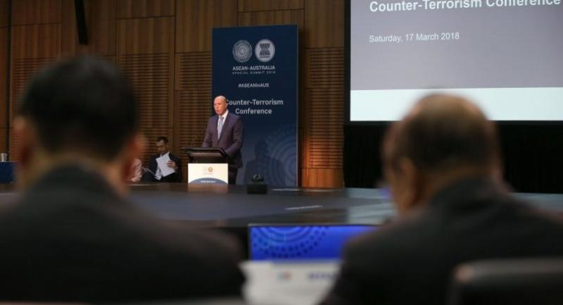 Australia's Home Affairs Minister Peter Dutton gives opening remarks for the Counter Terrorism Conference at the Association of Southeast Asian Nations, ASEAN, special summit, in Sydney on March 17, 2018. /AFP
