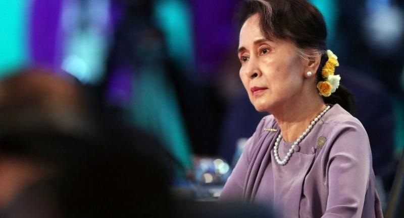 Myanmar State Counsellor Aung San Suu Kyi attends the Leaders Plenary Session of the Association of Southeast Asian Nations (ASEAN)-Australia Special Summit in Sydney on March 18, 2018.  // AFP PHOTO