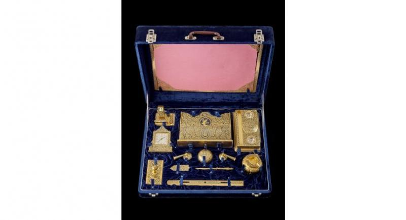 Golden desk set given by King Bhumibol Adulyadej to former US president Dwight Eisenhower in 1960 is part of the display.  Photo courtesy of the Dwight D Eisenhower Presidential Library and Museum