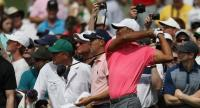 Tiger Woods of the United States plays a shot during a practice round prior to the start of the 2018 Masters Tournament at Augusta National Golf Club on April 2, 2018 in Augusta, Georgia.