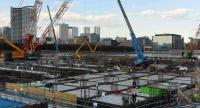 This picture taken on February 6, 2018 a general view of the construction site for the Tokyo 2020 venue