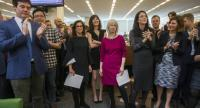 Photo shows (beginning 3-L), New York Times staff writers Jodi Kantor and Megan Twohey, senior enterprise editor Rebecca Corbett and reporter Cara Buckley celebrate with colleagues after the team they led won the 2018 Pulitzer Prize./EPA-EFE