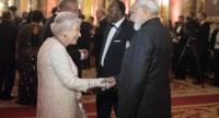 Britain's Queen Elizabeth greets India's Prime Minister Narendra Modi (R) before The Queen's Dinner during The Commonwealth Heads of Government Meeting (CHOGM), at Buckingham Palace in London on April 19, 2018./AFP