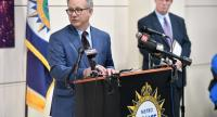 Nashville Mayor David Briley speaks at a press conference discussing the shooting at a Waffle House where a gunman opened fire killing four and injuring two on April 22, 2018 in Nashville, Tennessee./AFP