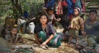 A family of Karen is displaced from home after military clashes in Karen state in February