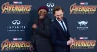 Actors Sammuel L. Jackson and Tom Hiddlestone arrive for the World Premiere of the film 'Avengers: Infinity War' in Hollywood, California on April 23, 2018. / AFP PHOTO / FREDERIC J. BROWN/AFP