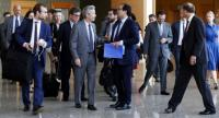 United Nations Security Council delegation arrive at Naypyidaw airport on April 30, 2018 for a meeting with Myanmar State Counsellor Aung San Suu Kyi and visit Rakhine state./AFP