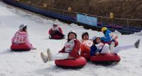 Thai tourists take part in the sledding competition at Yong Pyong Resort in Kangwon Province, South Korea. The event was organised as part of the April Snow Festival held for Thai tourists only.