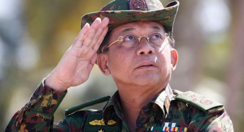 In this file photo taken on February 03, 2018, Myanmar military commander-in-chief Senior General Min Aung Hlaing salutes while speaking during the second day of 'Sin Phyu Shin' joint military exercises in the Ayeyarwaddy delta region./AFP
