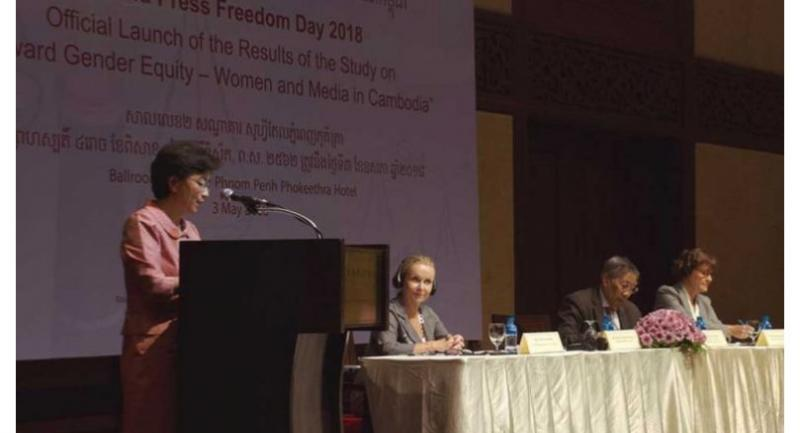 Minister of Women's Affairs Ing Kantha Phavi speaks during a World Press Freedom Day event on Thursday. Her admission that she could not name a Cambodian woman journalist sparked minor controversy on social media.//Unesco