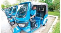 A line of CamGo autorickshaws are shown in the capital on Tuesday.