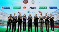 Representatives of nine companies who sponsor free broadcast of the World Cup in a photo session. / Nation Photo by Wanchai Kraisornkhajit