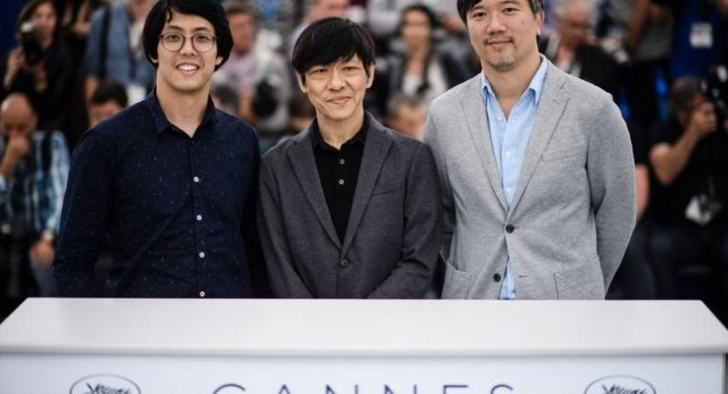 "Directors Chulayarnnon Siriphol, Wisit Sasanatieng and Aditya Assarat, from left,  pose during the photocall for ""10 Years in Thailand"" at the 71st annual Cannes Film Festival./EPA-EFE photo"