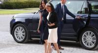 US actress and fiancee of Britain's Prince Harry Meghan Markle arrives with her mother Doria Ragland (C) at Cliveden House hotel in the village of Taplow near Windsor on May 18, 2018, the eve of her wedding to Britain's Prince Harry./AFP