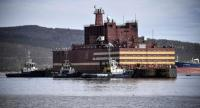 Floating power unit (FPU) Akademik Lomonossov is being towed to Atomflot moorage of the Russian northern port city of Murmansk on May 19, 2018.  Photo/AFP