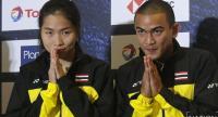 Thai No 1 players Ratchanok Intanon and Khosit Phetpradab perform a Thai wai during the press conference at Impact Arena Muang Thong Thani./ Nation Photo by Korbphuk Phromrekha