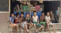 Children rest during the visit of Japan Ambassador to Myanmar Ichiro Maruyama and delegation at the Baw Du Ba Muslim Internally Displaced Persons (IDP) camp in Sittwe, Rakhine State, Western Myanmar on May 27.//EPA-EFE