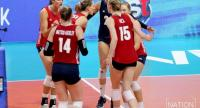 US team celebrate after winning a point against Dominican Republic.  / Nation Photo by Wanchai Kraisornkhajit