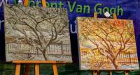 "The monochrome ""Tree in Winter"", left, which owner Haruthai ""Au"" Muangbunsri is convinced is an original Van Gogh, stands beside a research-based reproduction of how it looked when freshly painted.   Photo/Thanachai Pramarnpanich"