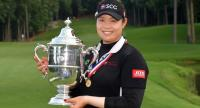 Ariya Jutanugarn of Thailand poses with the trophy after winning the 2018 U.S. Women's Open at Shoal Creek on June 3, 2018 in Shoal Creek, Alabama. Drew Hallowell/Getty Images/AFP