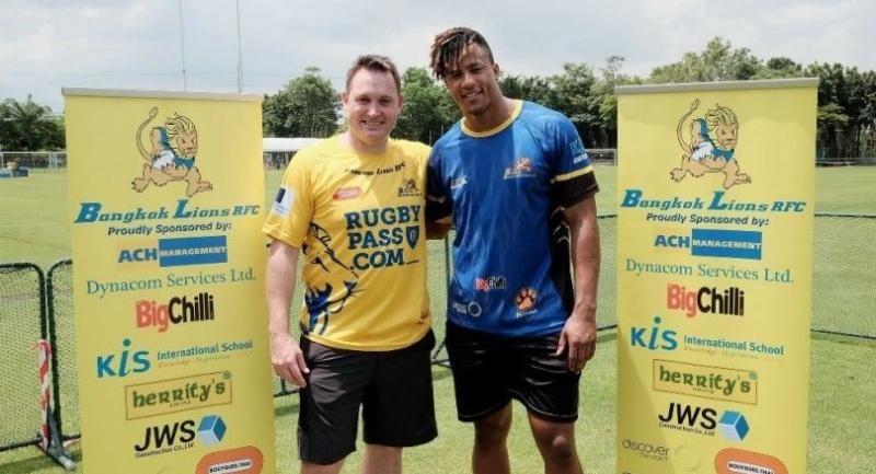Andrew Mehrtens (left), a former All Black star, and Anthony Watson (right), an English professional rugby union player, are in Bangkok to attend a club training day at Bangkok Patana School.