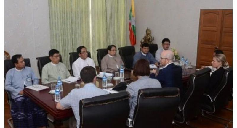 Union Minister for Information Dr Pe Myint meets with Facebook Vice President Mr. Simon Milner at the Ministry of Information yesterday. (Photo-MNA)