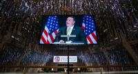 US Secretary of State Mike Pompeo is seen in a television monitor as speaks to the media about the upcoming meeting between US President Trump and North Korean leader Kim Jong-un in Singapore on June  11.//EPA-EFE