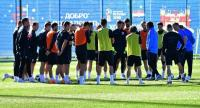 Croatia's players take part in a training session at Roshchino Arena near Saint Petersburg.
