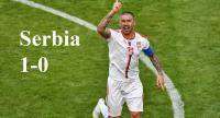 Serbia's defender Aleksandar Kolarov celebrates after scoring from a free-kick during the Russia 2018 World Cup Group E football match between Costa Rica and Serbia at the Samara Arena in Samara on June 17, 2018.