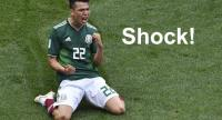 Mexico's forward Hirving Lozano celebrates after scoring during the Russia 2018 World Cup Group F football match between Germany and Mexico at the Luzhniki Stadium in Moscow on June 17, 2018. / AFP PHOTO