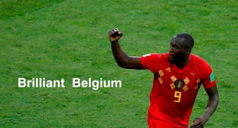 Belgium's forward Romelu Lukaku gestures after scoring during the Russia 2018 World Cup Group G football match between Belgium and Panama.
