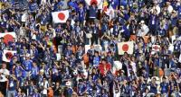 Japan's fans celebrate their 2-1 victory at the end of the Russia 2018 World Cup Group H football match between Colombia and Japan at the Mordovia Arena in Saransk on June 19, 2018.