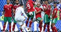 Portugal's forward Cristiano Ronaldo shoots a free kick during the Russia 2018 World Cup Group B football match between Portugal and Morocco.