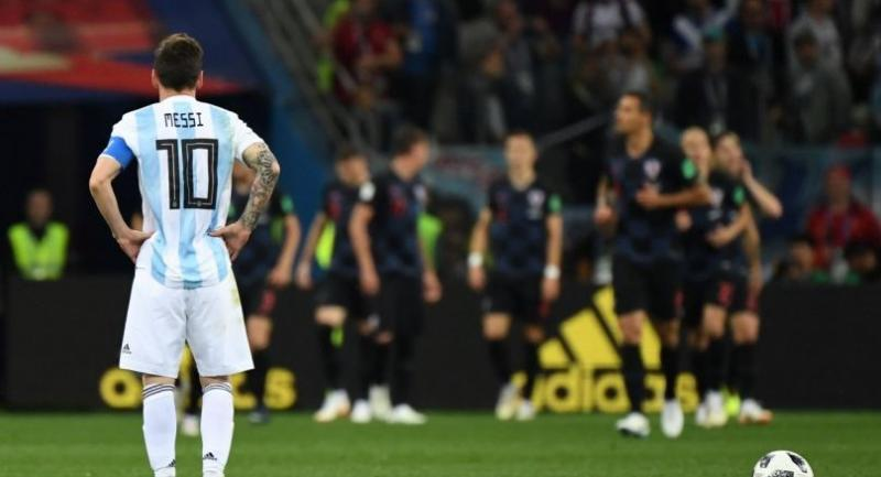 Argentina's forward Lionel Messi waits to kick off after Croatia scored their opener during the Russia 2018 World Cup Group D football match between Argentina and Croatia at the Nizhny Novgorod Stadium in Nizhny Novgorod on June 21.//AFP
