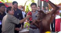 Cambodian Prime Minister Hun Sen holds an orangutan after a kick boxing performance during the inauguration of Phnom Penh Safari on June 23, 2018./AFP