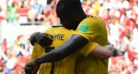 Belgium's forward Romelu Lukaku (R) celebrates with midfielder Kevin De Bruyne after scoring during the Russia 2018 World Cup Group G football match between Belgium and Tunisia at the Spartak Stadium.