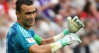 Egypt's goalkeeper Essam El Hadary reacts during the Russia 2018 World Cup Group A football match between Saudi Arabia and Egypt.