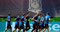 Spain's players attend a training session at Krasnodar Academy on June 26, 2018, during the Russia 2018 World Cup football tournament.