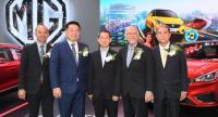 Left to right: Asadavuth Asasappakij, Chalatchai Paphatphong, MG Sales Thailand vice president Pongsak Lertruedeewattanavong, Kwanchai Paphatphong and Pattanadesh Asasappakij.