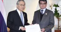 Thai Foreign Minister Don Pramudwinai, left, with Japanese counterpart Taro Kono co-chair CEAPAD in Bangkok on Wednesday