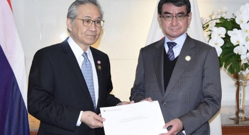 Thai Foreign Minister Don Pramudwinai, left, with Japanese counterpart Taro Kono co-chair CEAPAD in Bangkok on Wednesday