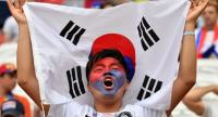 South Korea's fan cheers prior to the Russia 2018 World Cup Group F football match between South Korea and Germany at the Kazan Arena in Kazan on June 27, 2018. / AFP PHOTO.