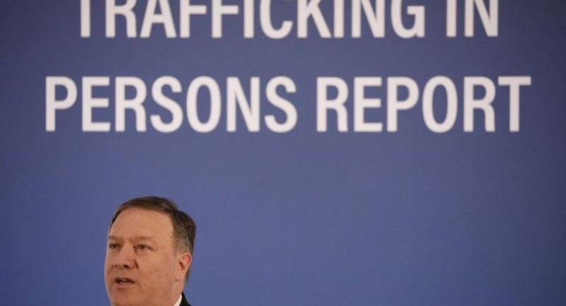 Secretary of State Mike Pompeo speaks about the release of the Trafficking in Persons report at the State Department June 28, 2018 in Washington, DC./AFP