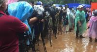 Media flocking at the Tham Luang Cave to report progress of the mission