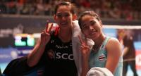 Pornpawee and Ratchanok after their match.
