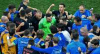 Croatia's player gather at the end of the official time of the Russia 2018 World Cup round of 16 football match between Croatia and Denmark .