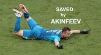 Goalkeeper Igor Akinfeev of Russia reacts after the penalty shootout.