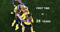 Sweden's players celebrate at the end of the Russia 2018 World Cup round of 16 football match between Sweden and Switzerland.