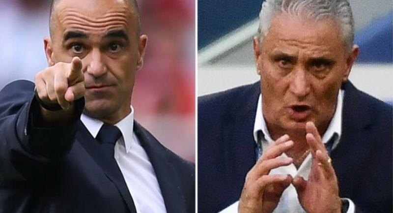 Belgium's coach Roberto Martinez and Brazil's coach Tite